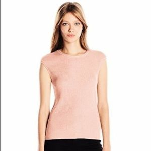 Calvin Klein Blush Pink Ribbed Knit Crewneck Shell